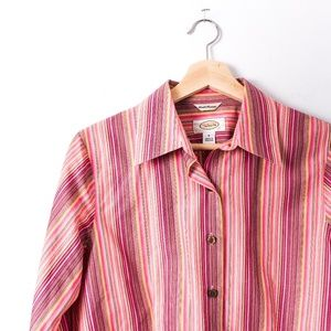 Talbots Wrinkle Resistant Striped Pink Button Down